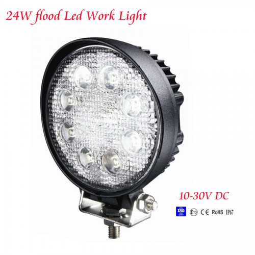 2pcs 24W 12V 24V flood LED Work Light OffRoad Flood Jeep Boat Truck IP67