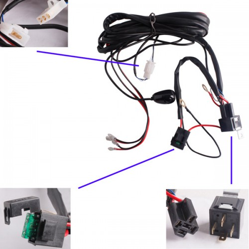 Spot/Flood LED/HID Work Driving light Wiring Loom Harness 12V 40A Switch Relay Driving Light Off Road Spotlights JEEP SUV
