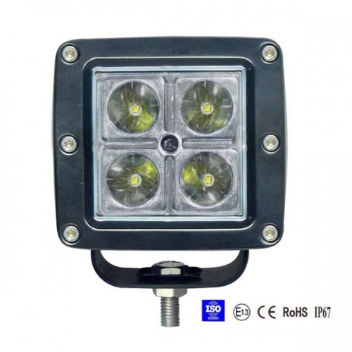 12W Spot/Flood LED Work Light OffRoad Jeep Boat Truck IP67 12V 24V