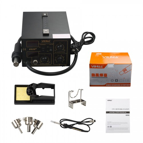 2in1 SMD Soldering Rework Station Hot Air & Iron 852D+ 5Tips ESD PLCC BGA