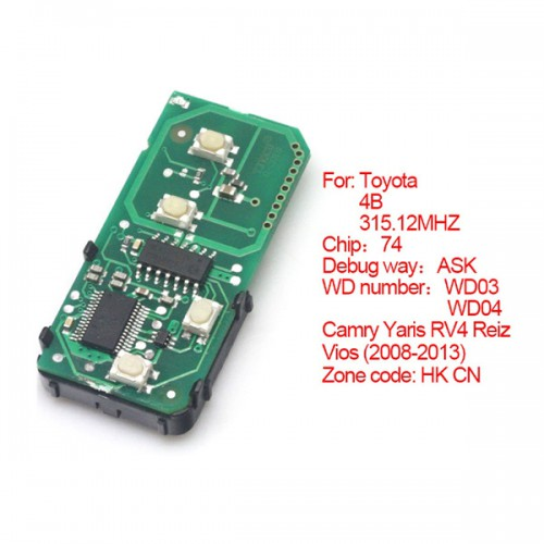 Toyota Smart Card Board 4 Buttons 315.12MHZ Number: 271451-3370-Eur
