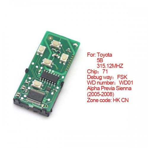 Smart Card Board 4 Buttons 315.12MHZ for Toyota Number: 271451-6221-HK-CN