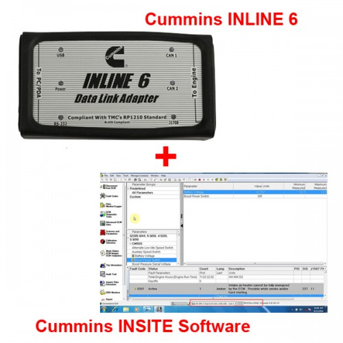 Cummins INLINE 6 Data Link Adapter plus 8.2.0 Cummins INSITE Software Pro Version with 500 times Limitation
