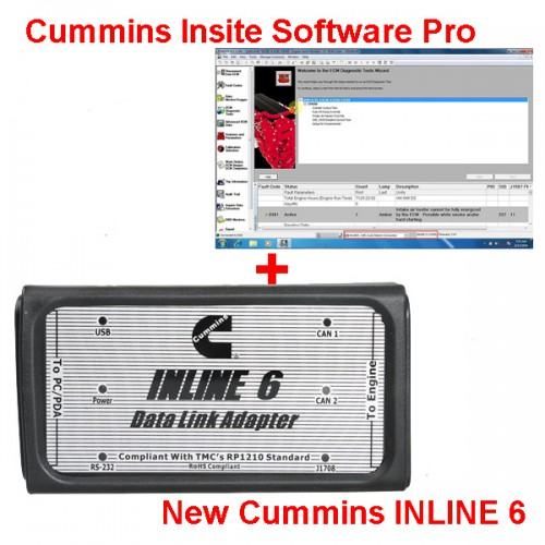 Bundle Promotion Cummins INLINE 6 Data Link Adapter Insite Plus 8.2.0 Cummins INSITE Software Pro Version with 500 times Limitation