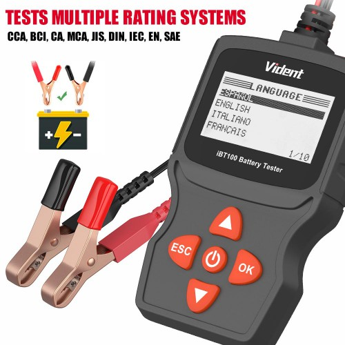 [Ship From US]  Vident iBT100 12V Battery Analyzer for Flooded, AGM,GEL 100-1100CCA Automotive Tester Diagnostic Tool