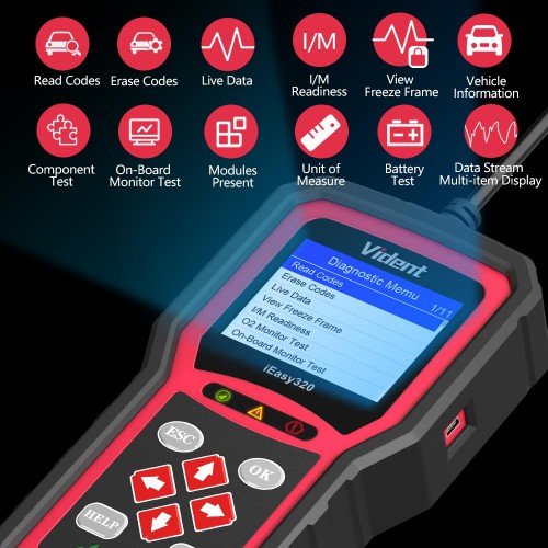 [Ship From US] VIDENT iEasy320 OBDII/EOBD+CAN Code Reader Life Time Free Software And firmware updates