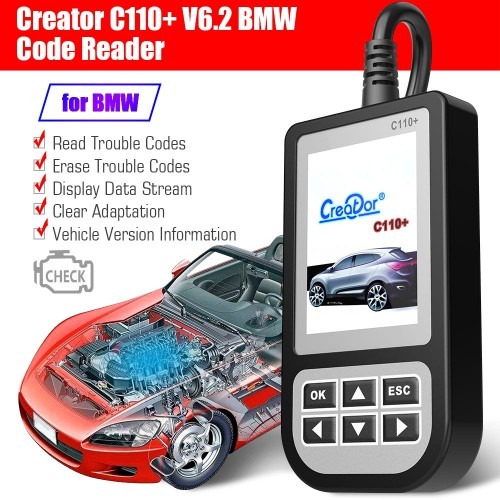 [ Ship From US]BMW Creator C110+ V6.2 Code Reader Supports BMW 1/3/5/6/7/8/X/Z/Mini From 2000 to 2015 Year