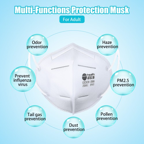 KN95 Masks with 2 pcs Filter Paper With 4 Layers Of Meltblown Cloth- Sealed Bag -Protective Face Mask Dust Filter Mouth Cover