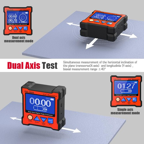 [Ship From US] DXL360S GYRO + GRAVITY 2 in 1 Digital Protractor Inclinometer Dual Axis Level Box 0.01° resolution 134