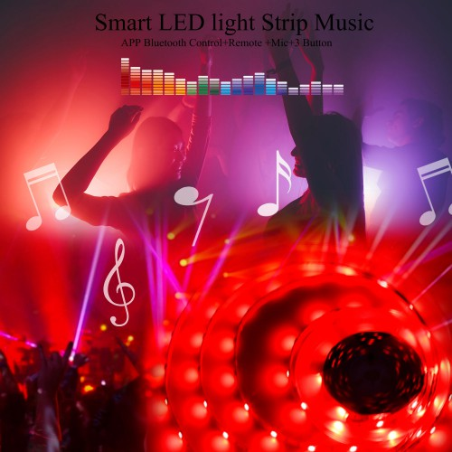 LED Strip Lights 50ft/ 15M SMD5050 RGB Smart LED light Strip Music Sync Color Lights APP Bluetooth Control+Remote +Mic+3 Button