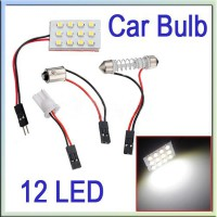 T10 BA9S 12 LED SMD Pure White Interior Room Dome Door Car Light Panel Lamp Bulb