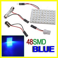 Car Interior 48 SMD LED Bulb Lamp Light Panel Blue New