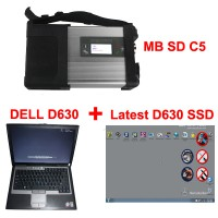 V2019.3 MB SD Connect C5 Star Diagnosis with 256GB SSD Software Plus Dell D630 4GB  Laptop