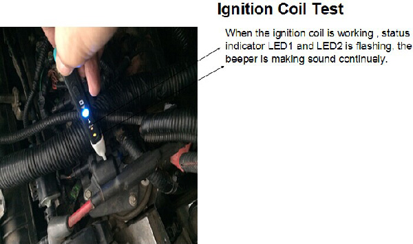 MST-101 ignition coil test on a car