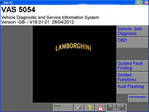 VAS 5054A Lamborghini Display