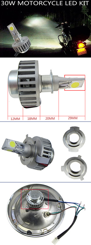 30W Motorcycle Led Hid Bixenon Coversion Kit High & Low Beam Part Acc display
