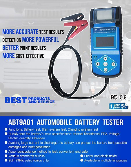 ABT9A01 Automotive Battery Tester with printer display 1