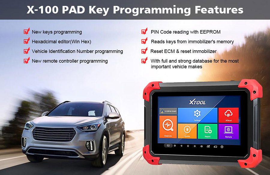 XTOOL X100 PAD Key Programmer features