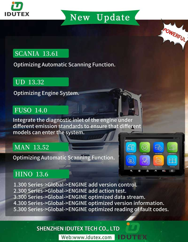 XTUNER T1 Heavy Duty Trucks Auto Diagnostic Tool update information